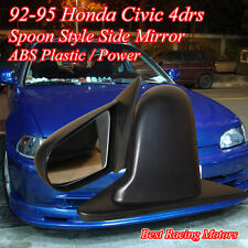 SPN Style Side Mirrors ABS Black (Power) Fits 92-95 Honda Civic 4dr