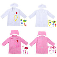 Kids Doctor Dress Up Outfit Boy Girl Surgeon Nurse Uniform Cosplay Fancy Costume