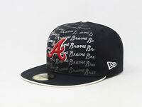 New Era 59Fifty Hat Mens MLB Atlanta Braves Fade Out Navy Blue Red Fitted Cap