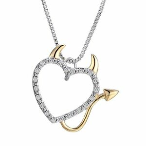 Crystal Lovet Devil Heart Accent Pendant Charm Chain Necklace Women Jewelry Gift