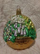 """New listing 96' Patricia Breen #9613 Flowers for My Love Blown Glass Christmas Ornament 4.5"""""""