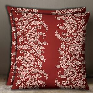 Maroon Floral Paisley Square Cushion Cover Cotton Poplin Pillow Case 1 Pair