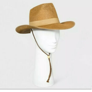 Women's Universal Thread Brown Panama Hat Wide Brim With Chin Strap New