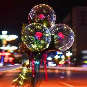 Valentine's Day Gift Luminous LED Light Balloon Rose Flower Bouquet Party Decor☑