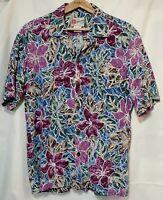 Men's Large Shirt Hilo Hattie Hawaiian Cotton/Rayon   Aloha Tropical  Floral