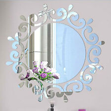 3D Feather Mirror Wall Sticker Home Decoration Room Decal Acrylic Mural Art DIY