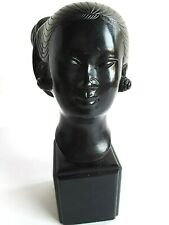 Asian Female Bronze Bust on Wood Base Style of Vietnamese Artist Nguyen Thanh Le