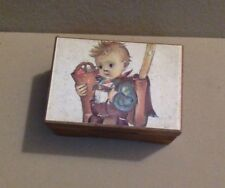 Vintage Wooden Lador Music Box. Hummel Picture on Top. Made in Switzerland.