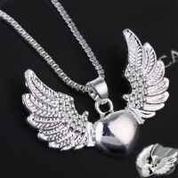 Vintage 925 Plated Silver Necklace Women Heart Angel Wing Charm Pendant Jewelry