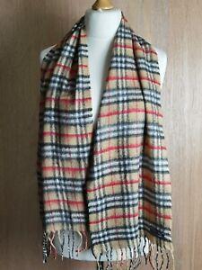 "Vtg Burberry London Check Nova 100% Lambs Wool Scarf 58""X12"" Scarf"