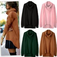 Fashion Women's High Collar Irregular Hem Long Sleeve Pullover Loose Sweater HOT
