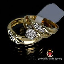 Yellow Gold Finish His & Her Diamond Engagement Bridal Wedding Trio Ring Set