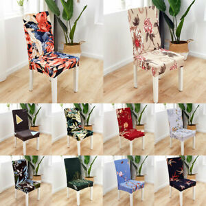 Removable Stretch Spandex Floral Elastic Chair Cover Dining Room Seat Slipcover