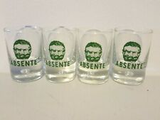 Set of 4 ABSENTE ABSINTHE blue green glasses Glowing in darkness