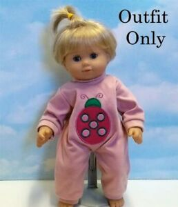 """New """"Pink Romper Bug Applique"""" fits 15"""" American Girl Bitty Baby - Outfit Only"""