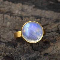 AAA Rainbow Moonstone Gemstone Matte 14K Yellow Gold Wedding Gift Ring Size 7