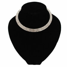 New Multilayer Bling Crystal Rhinestone Chain Necklace Silver Choker