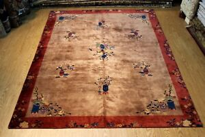 VINTAGE ART DECO RUG 9'X11 Early 1900 Rust color CHINESE Design Antique Oriental
