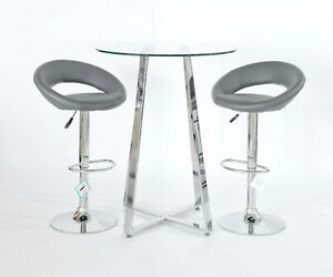 Glass Top Poseur Table With Two Grey New Moon Gas Lift Bar Stools