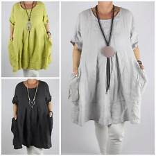 Linen Scoop Neck 3/4 Sleeve Casual Tops & Shirts for Women