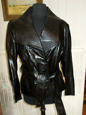 SUPER veste BRILLANTE manteau cuir noir chèvre ELEGANCE taille 44 ceinture PW6