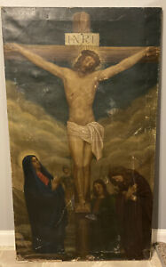 12th Station Of The Cross Oil On Canvas 23X40 Italian Painting Crucifixion AS IS