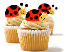 ✿ 24 Edible Rice Paper Cup Cake Toppings, Cake decs - Ladybird ✿