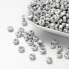 50 Letter Beads Alphabet Beads Silver Bulk Beads Wholesale 7mm Silver Plated