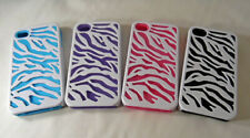 Apple iPhone 4/4s Zebra Pattern Set of 4 Rubber cover with Hard Case - New