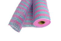 """10"""" PINK and BLUE Solid Metallic Stripes Deco Flexible Mesh 3 Yards"""