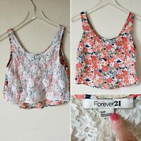 Forever 21 Crop Top Shirt Small Petite Lace Sheer Floral Women's Sleeveless