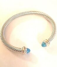 David Yurman Sterling Silver 14k Gold 5mm Cable Bracelet Turquoise Size 6.75
