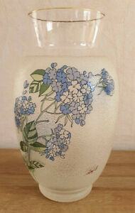 Antique Pretty Vase Flower Blue Gilding Signed Effect Grainy, Sandy, Not Smooth