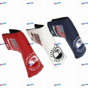 QHALEN Pebble Beach American Flag Blade Putter Headcover For Scotty Cameron Ping
