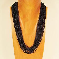 "22"" Multi Strand Black Color Handmade Seed Bead Statement Necklace"