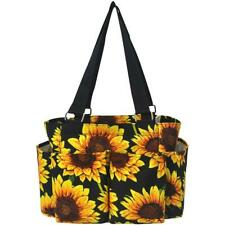Sunflower Floral NEW NGIL Small Zippered canvas purse Caddy Organizer Tote Bag