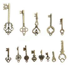 13 Antique Vintage Old Look Skeleton Keys Lots Bronze Tone Pendants Mix Jewelry