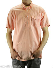 STEVEN ALAN Peach Short Sleeve Round Collar Popover Shirt MST0064CT NWT $178
