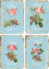 Vintage inspired with love pink roses small note cards tags set of 8 w/envelopes