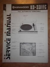 Kenwood Service Manual~KD-33F/33FC Turntable~Original Repair Manual