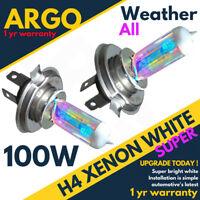 2x H4 Headlight Xenon Bulbs 100w Dipped Main White Headlamp Light All Weather