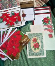 Poinsettia Holiday Lot cards invitations envelopes more glitter foil Pointsetta