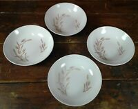 Set of 4 Salad Bowls Gold Wheat on White Japan Pottery Dinnerware