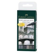 # 167104 Faber Castell 6 GRIGIO PENNELLO PUNTA PITT ARTIST PENNE India Ink SKETCH DISEGNO