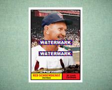 Red Schoendienst St Louis Cardinals 1961 Style Custom Baseball Art Card