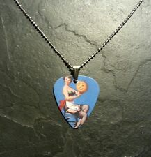 Sexy Halloween Pin Up Girl Guitar Pick Dog Tag Style Necklace Pendant Charm Gift