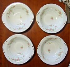 FOUR Pope Gosser JEAN Pattern LUGGED SOUP BOWLS Pink Roses MINT!