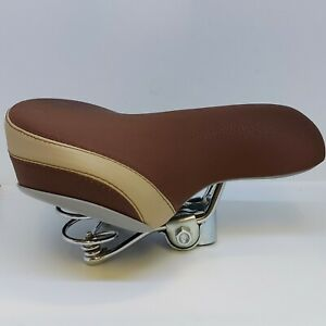Deluxe Suede effect BROWN & CREAM Saddle chrome double sprung comfort seat TGR