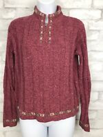 Woolrich Womens Pullover 1/4 Zip Sweater Pink Rosebud Ramie Wool Blend Size S
