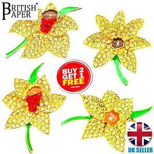Neue Daffodil Pins Broschen Künstliche Blumen Kristall Anstecknadeln Schmuck für Frauen